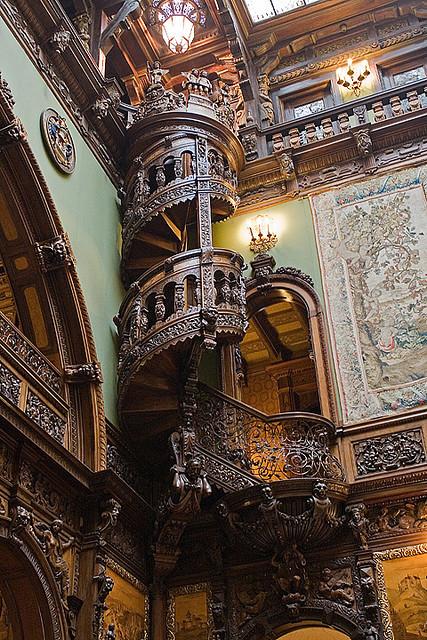 Wooden Spiral Staircase, Pele's Castle, Transylvania
