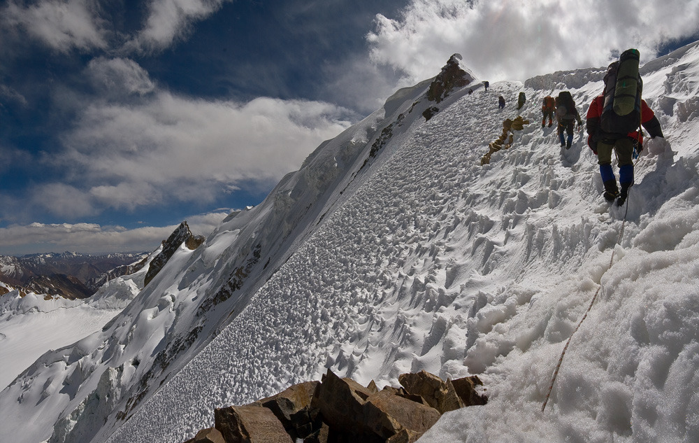 Climbing expedition in Pamir Mountains.