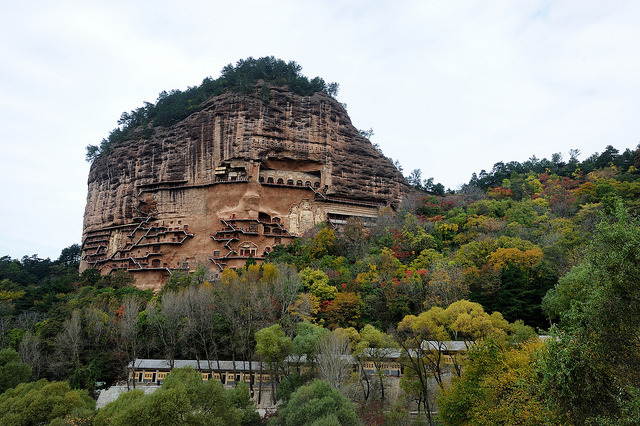 ifc_skn on Flickr.Maijishan Grottoes are a series of 194 caves cut in the side of the hill of Majishan in Tianshui, Gansu Province, northwest China. This example of rock cut architecture contains...