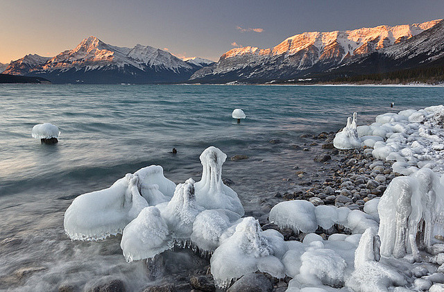 by darwinwiggett on Flickr.Abraham Lake in the winter, Kootenay Plains, Alberta, Canada.