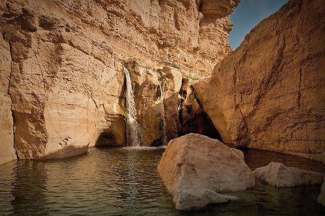 by Siuloon on Flickr.Waterfall in Tamerza, the largest mountain oasis in Tunisia.
