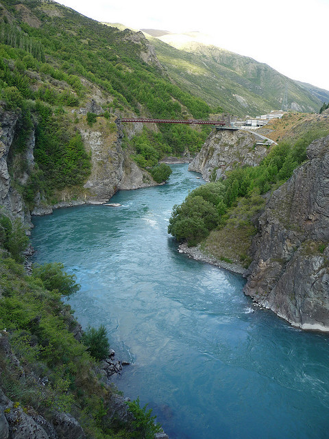 by Steve & Jemma Copley on Flickr.Kawarau River with Kawarau Bridge Bungy, the world's first commercial bungy site in New Zealand. The river was also featured as a setting for the Argonath in the...