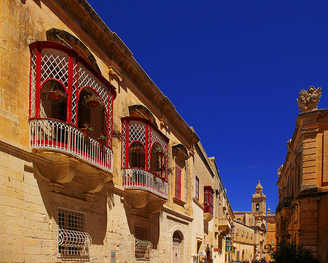 by albireo2006 on Flickr.Red balconies in Mdina, the old capital of Malta.