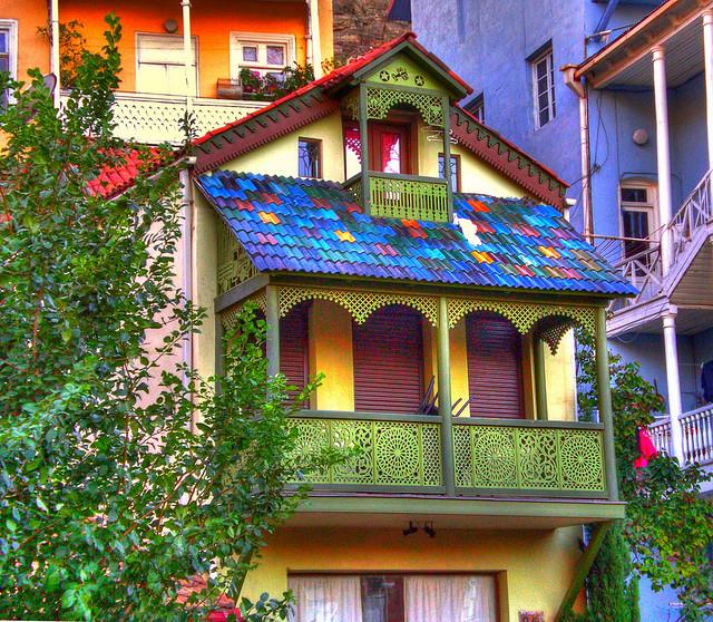 Colorful buildings in Tbilisi, Georgia