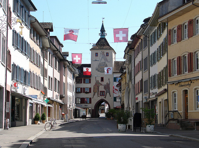Street view in Liestal, Basel Canton, Switzerland