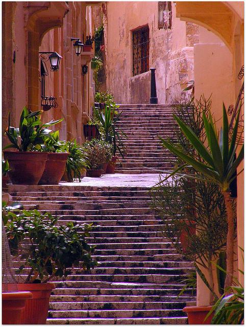 Steps in the old city of Birgu, Malta
