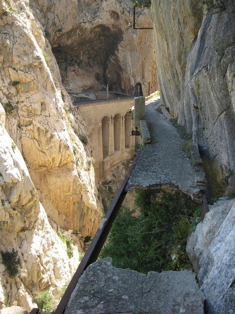 Dangerous paths of El Caminito Del Rey, Spain