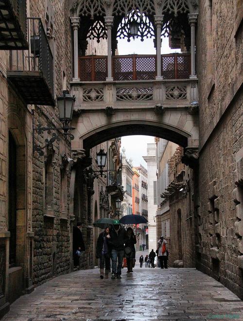 Rainy Day, Gothic Quarter, Barcelona, Spain