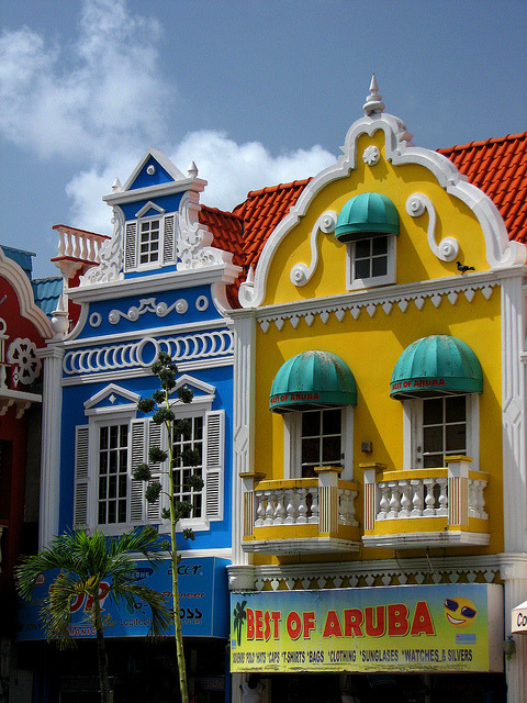 Colorful shops in Oranjestad, the capital of Aruba