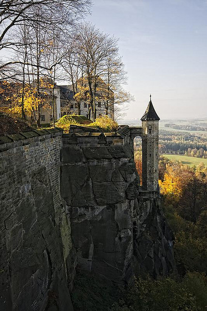 The observation tower at Konigstein Fortress in Saxony, Germany