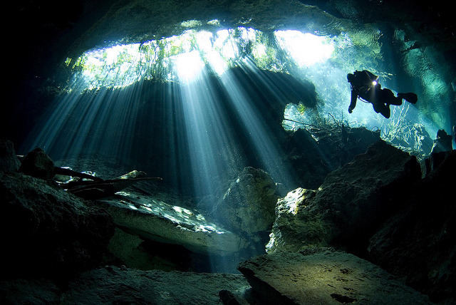 Cavern guide in Cenote Chacmool, Riviera Maya, Mexico