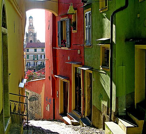 Narrow Street, Sanremo, Liguria, Italy