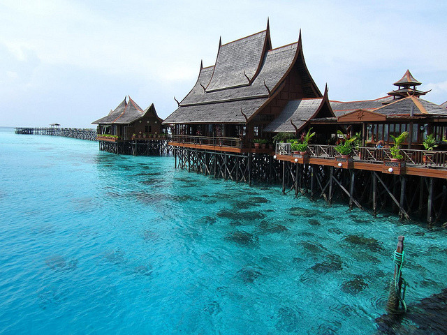 Fancy resort on Mabul Island, Malaysia