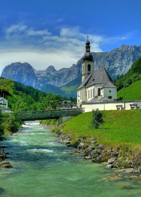 The church of Saint Sebastian in Ramsau, Bavaria, Germany