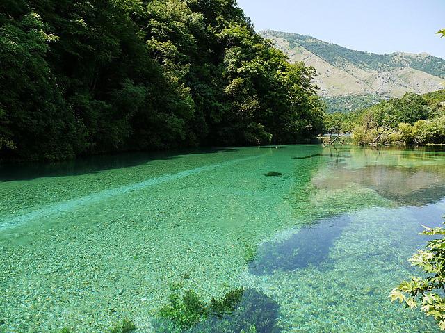 The Blue Eye karstic spring near Saranda, Albania