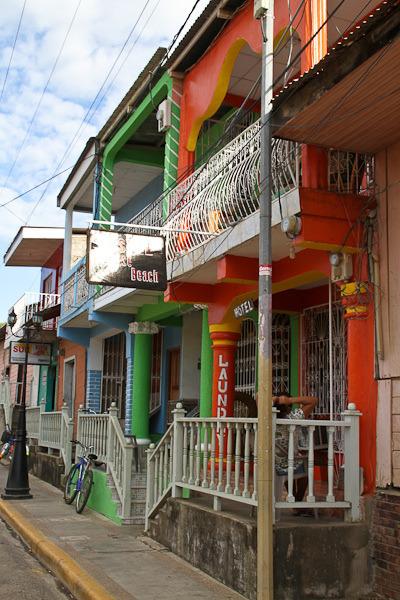 Colorful colonial buildings in San Juan del Sur, Nicaragua