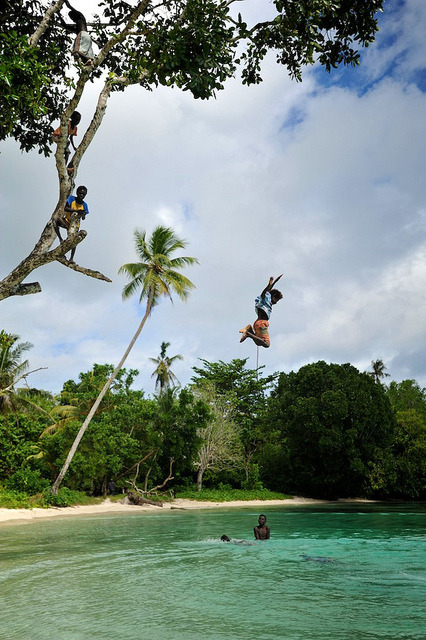 Diving in clear waters, Nuhu village, Solomon Islands