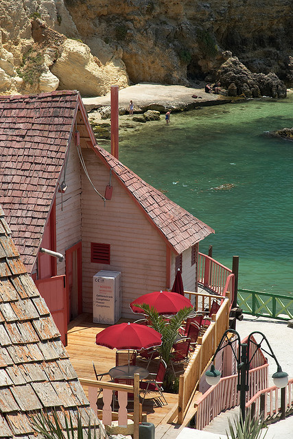 Houses on Popeye Village, Anchor Bay, Malta