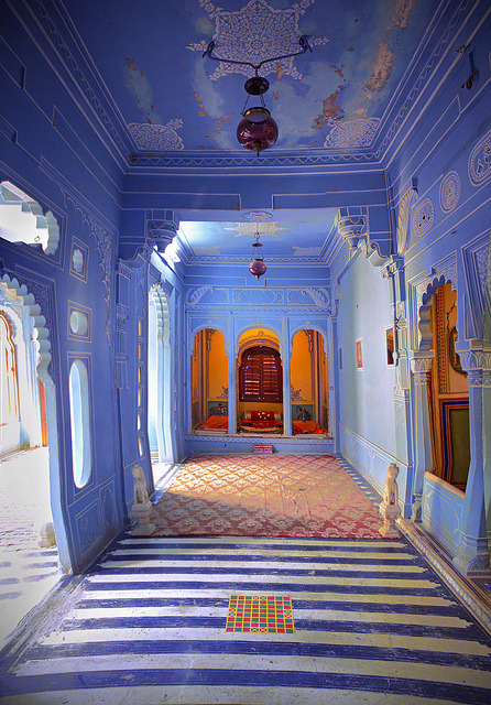 Beautiful colours and architecture inside Mehrangarh Fort in Jodhpur, India