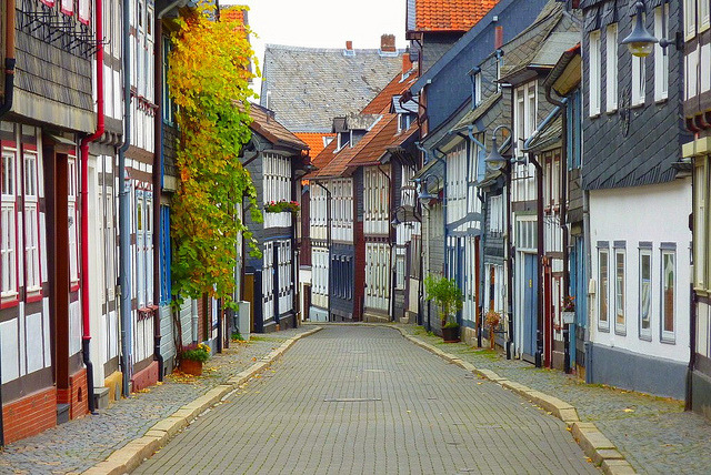 Picturesque street in Goslar, Lower Saxony, Germany
