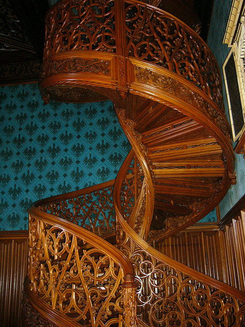 The library stairs in Lednice Castle, Czech Republic