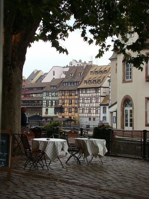 Streetside cafe tables in Strasbourg, France