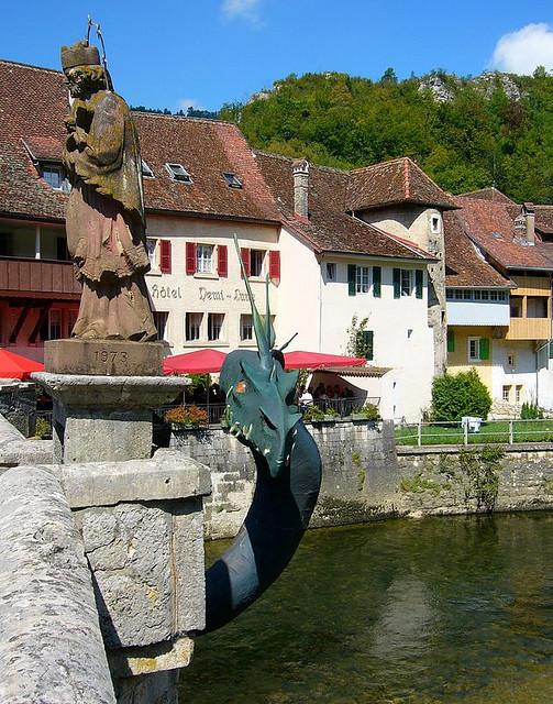 Dragon on the bridge, St-Ursanne, Jura, Switzerland