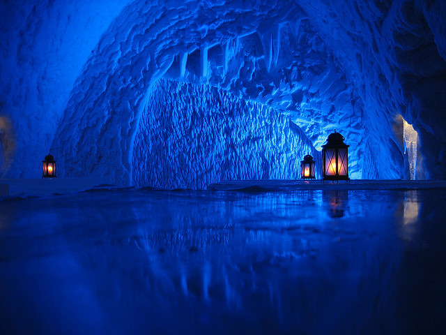 Lanterns on the floor inside Kemi Snowcastle in Lapland, Finland