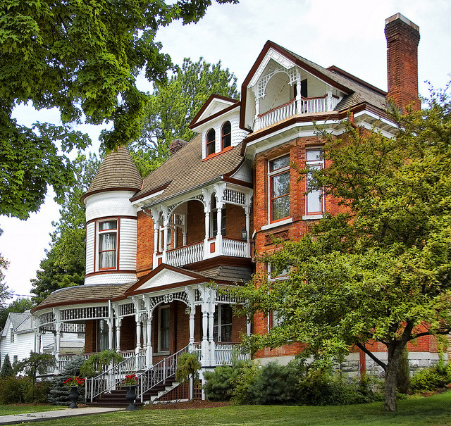 Queen Anne Revival style architecture house in Napanee, Ontario, Canada