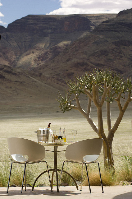 Dining table at Sossusvlei Lodge in Namib Desert, Namibia
