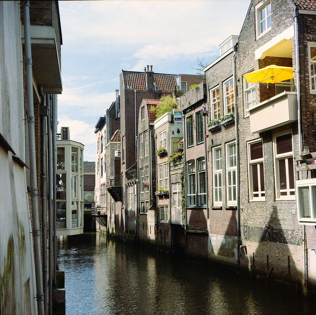 Houses by the canal in Dordrecht, Netherlands