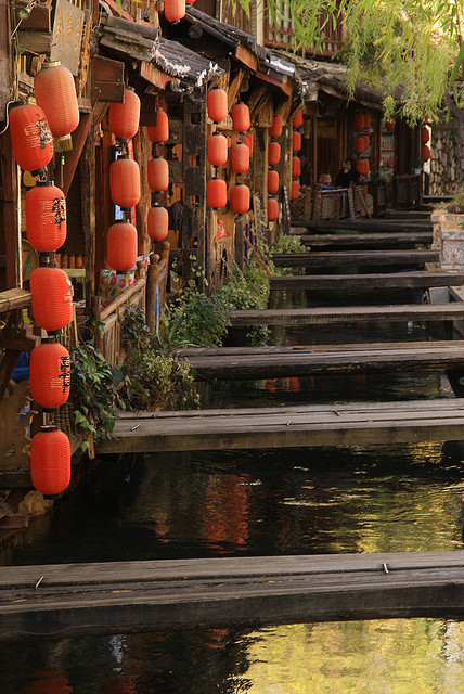 Crossings and lanterns in Lijiang, Yunnan, China