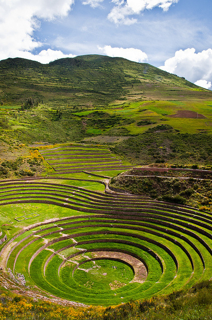 The rings of Moray, an old incan agricultural site in Sacred Valley of the Incas, Peru