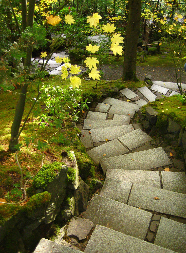 Seeking the path to enlightenment, Portland Japanese Garden, Oregon, USA