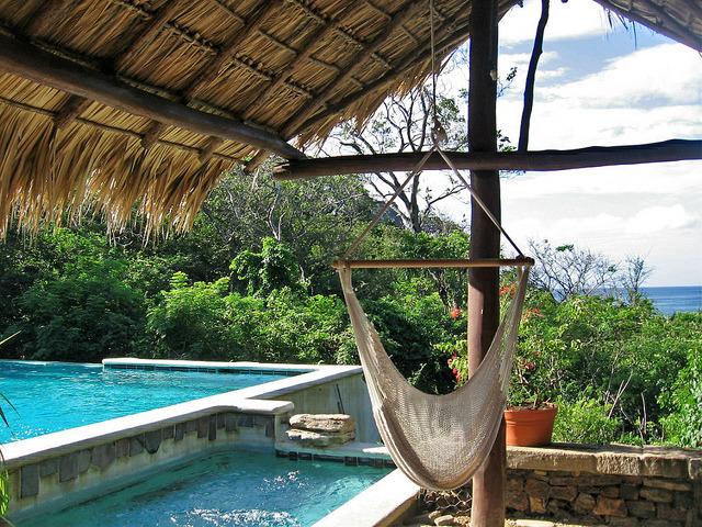 Hammock at poolside, Morgan's Rock, Nicaragua