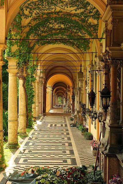 Ivy covered arcades at Mirogoj Cemetery, Zagreb, Croatia