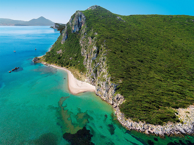 Secluded beach coves in Messinia, Peloponnese, Greece