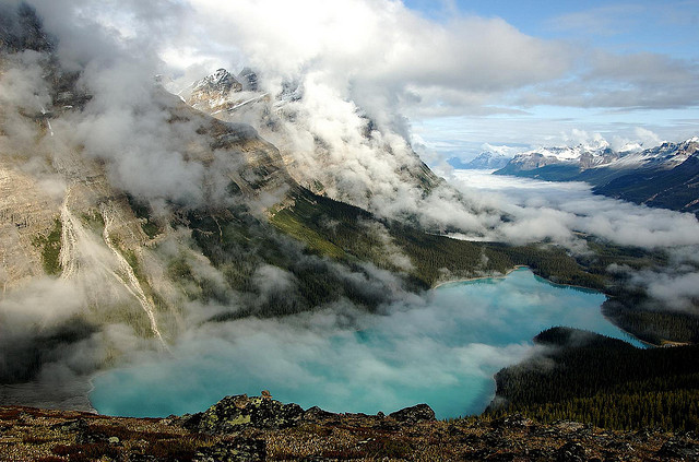 Peyto Lake fog lifting early in the morning, Alberta, Canada
