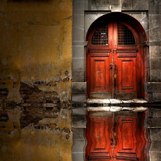 Reflected Wooden Door, Venice, Italy