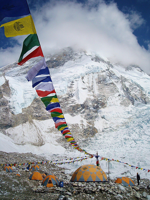 Prayer flags at Everest Base Camp, Himalayas, Nepal