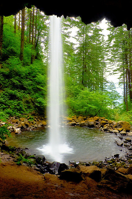 Ponytail Falls in the Columbia River Gorge, Oregon, USA