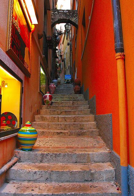 Narrow stairways in Messina, Sicily, Italy
