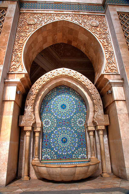 Fountain outside Hassan II Mosque in Casablanca, Morocco