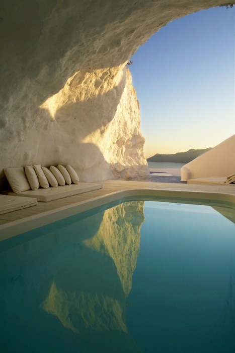 Natural Cave Pool, Santorini, Greece