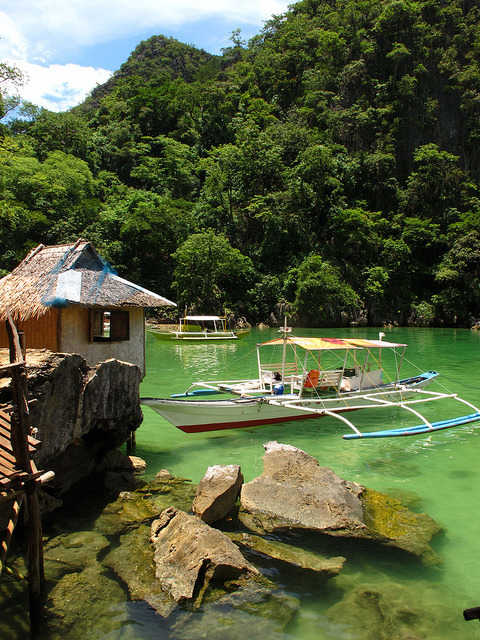Tagbanua Village on the shores of Kayangan Lake, Philippines