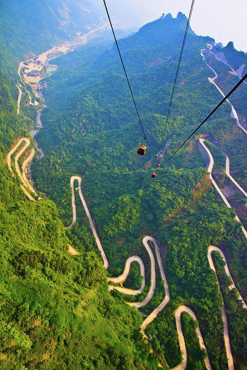 Switchbacks, Mount Tianmen, Hunan, China