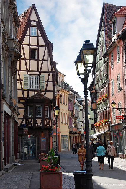 A view down Rue des Boulangers in Colmar, France
