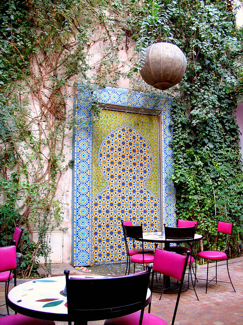 Cafe Bougainvillea in Marrakech, Morocco