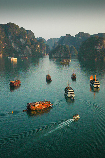Junk boats in Ha Long Bay, Vietnam