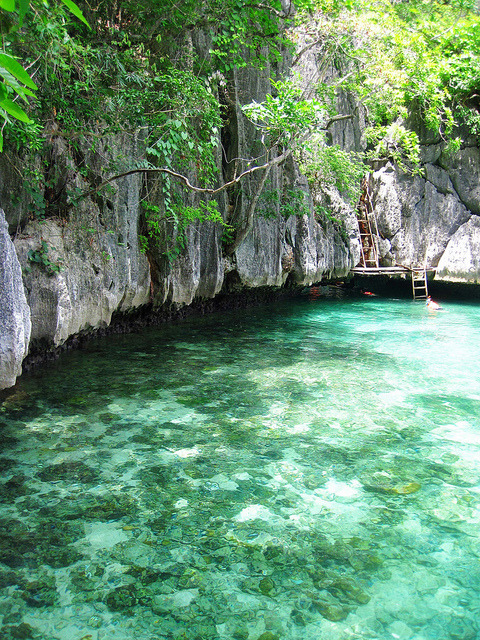 Turqoise waters of the Twin Lagoons in Palawan, Philippines